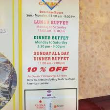 Chinese Buffet Hours by China King Super Buffet 17 Reviews Chinese 2810 N Main St