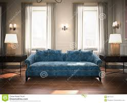Living Room Blue Sofa by Classic Sofa 3d Rendering Royalty Free Stock Image Image 21212406
