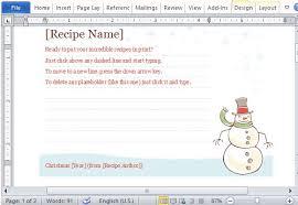 recipe template microsoft word
