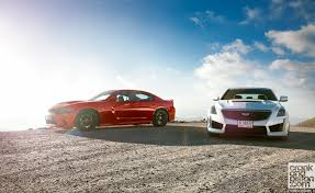 dodge charger hellcat cadillac cts v vs dodge charger srt hellcat set 1