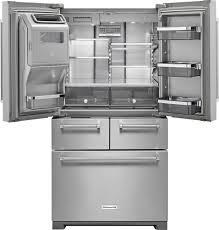 kitchenaid 25 8 cu ft 5 door french door refrigerator silver