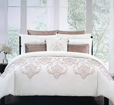 tahari bedding 3 piece king duvet cover set copper thread