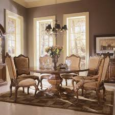 elegant formal dining room dark brown carving legged table