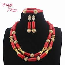 indian beaded necklace images Red nigerian wedding coral beads necklace jewelry set traditional jpg