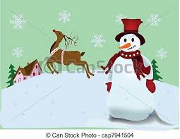 eps vector christmas scenery christmas postcard snowman