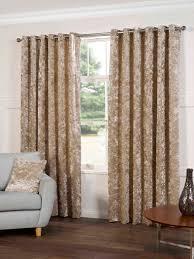 Eyelet Curtains Plush Crushed Velvet Lined Ready Made Eyelet Ring Top Plain