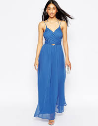 asos halter neck maxi dress with cut out side in black lyst