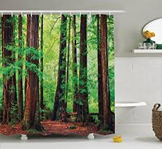 Green And Brown Shower Curtains Tree Shower Curtain Woodland Decor By Ambesonne