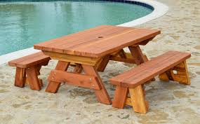 picnic table with separate benches kid size wood picnic table with detached benches forever redwood