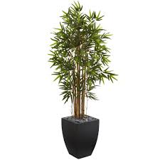 nearly 5 ft bamboo artificial tree in black wash planter