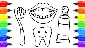 coloring book rainbow teeth lips toothbrush and toothpaste art