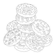 download print free pile donuts coloring