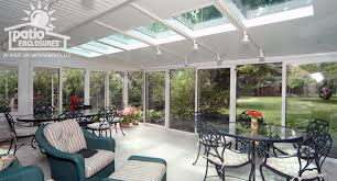 All Seasons Sunrooms White Aluminum Frame All Season Room With Glass Roof Panels