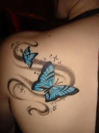 butterfly pic tattoos on left shoulder blade