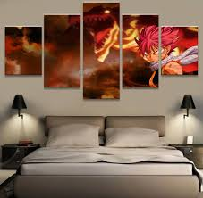 5 piece modern home decor poster fairy tail anime painting canvas