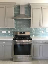 what color backsplash with gray cabinets blue glass tile backsplash with gray cabinets and white