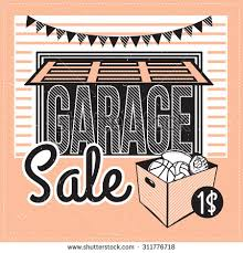 garage yard sale signs box household stock vector 311776718