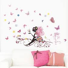 autocollant chambre fille liketech fleurs et fée arbre et papillons sticker pour