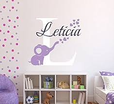 amazon com personalized elephant hearts name wall decal