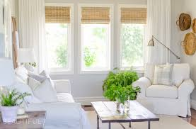 Farmhouse Livingroom Woven Wood Shades In Our Living Room A Burst Of Beautiful