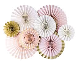 white paper fans pink and gold party fanspink and gold party fans pom
