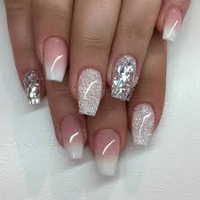 french ombre med diamond ovh silverflakes nails pinterest