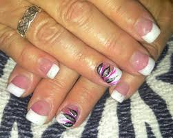 flower design nails pink and white acrylic nails with hand