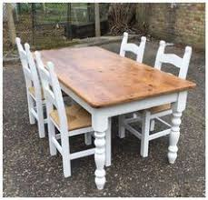 shabby chic solid pine farmhouse table 4 chairs and bench cream on