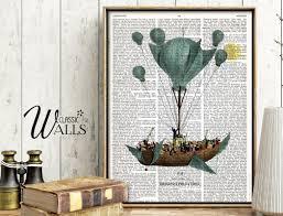 air balloon dictionary art print air balloon art