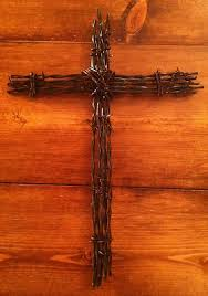 barbed wire cross wall rust decoration religious christian 10