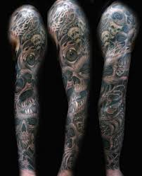 viking ship grey ink tattoo on arm
