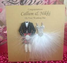 Wedding Day Cards From Groom To Bride Handmade Personalised Wedding Card Bride Groom Scottish Kilt