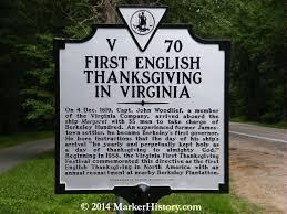 thanksgiving in virginia v 70 marker history