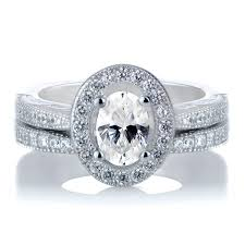 halo wedding ring kiara s oval cut cz halo wedding ring set
