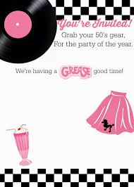 Free Printable Halloween Invitations Kids Free 50 U0027s Grease Theme Invitation With Instructions To Personalize