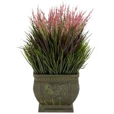 Fake Plants For Home Decor Nearly Natural 13 In H Green Mixed Grass Silk Plant Indoor