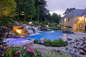Waterfall Ideas For Backyard Swimming Pool Backyard Outdoor Lighting For Natural Swimming