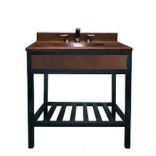 36 inch single sink bath vanity with integrated copper counter top