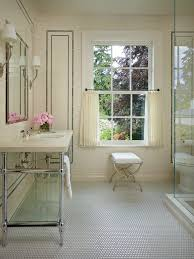 Bathroom Window Trim Cafe Curtains Bathroom Shabby Chic Style With Beige Subway Tile