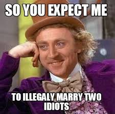 Meme Generator Two Images - meme creator so you expect me to illegaly marry two idiots meme