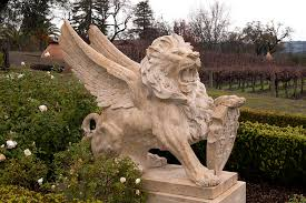 lion statue winged lion statue in napa vineyard photograph by carol m highsmith