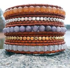 bracelet leather wrap images Gemstone leather wrap bracelets mixed stones onsra designer jpg