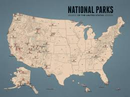 map us parks us national parks map 18x24 poster best maps