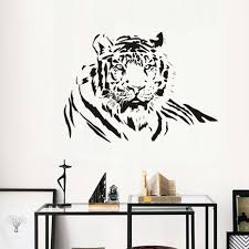 online get cheap realistic wall decals aliexpress com alibaba group dctop realistic pvc animals diy wall sticker tiger lying living room removable home decor hollow out