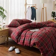 luxury plaid flannel bedding duvet cover set king