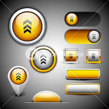 abstract 3d glossy icon sets in yellow color with grey color
