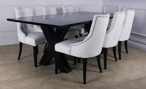 white leather dining chairs and table with concept hd images 7959