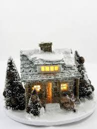 mini lights for christmas village putz glitter church miniature christmas by creativitybyjane314