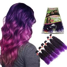 purple hair extensions new coming ombre purple brown bohemian jerry curly synthetic hair