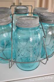 diy white wood cottage kitchen island fox hollow cottage vintage aqua blue ball mason jars foxhollowcottage com
